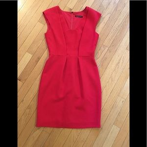 Black halo crepe red dress