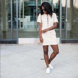 English Factory Blush Lace Up Dress
