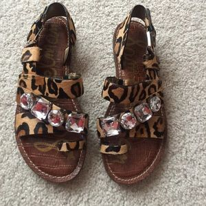 Sam Edelman Leopard Jeweled Sandals