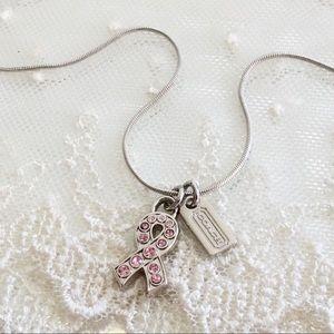 🎉HOST PICK🎉 Coach BCA Pave Pink Ribbon Necklace
