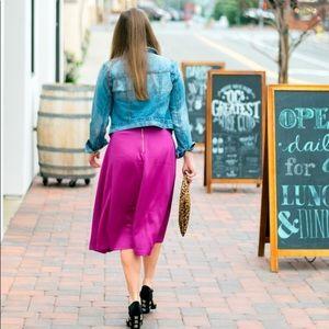 H&M satin magenta midi skirt