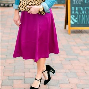 H&M Skirts - H&M satin magenta midi skirt
