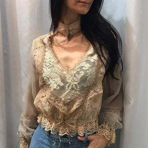 Lace and sheer long sleeve blouse