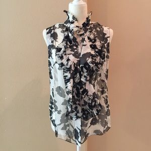 Oscar De La Renta Floral Print Silk Blouse Top