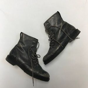 Paul Green Metallic Lace Up Combat Boots