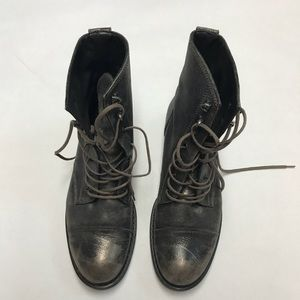 Paul Green Shoes - Paul Green Metallic Lace Up Combat Boots