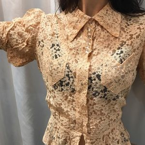 Vintage lace blouse with glass buttons