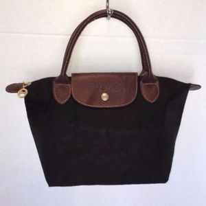SALE***LONGCHAMP Small Black Nylon Tan Leather