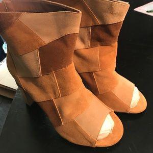 Peep toe patchwork wide width booties
