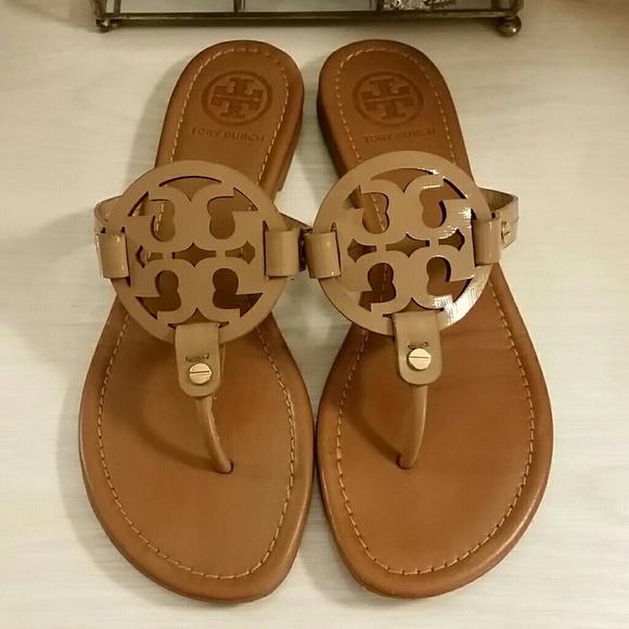 911b3fecf Tory Burch Miller Sandals in Tan Saffiano Leather.  M 59d68c01522b45b3660306ca