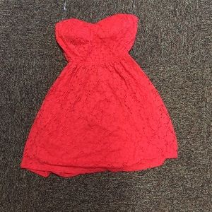Red/coral strapless dress with part open back