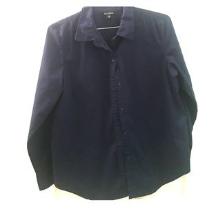 Navy Blue Collared Shirt School Long Sleeve