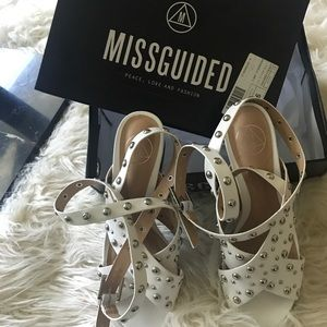 White studded leather sandals