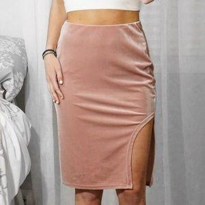17c65756df4f Skirts | Sale Mauve Blush Velvet Slit Pencil Skirt | Poshmark