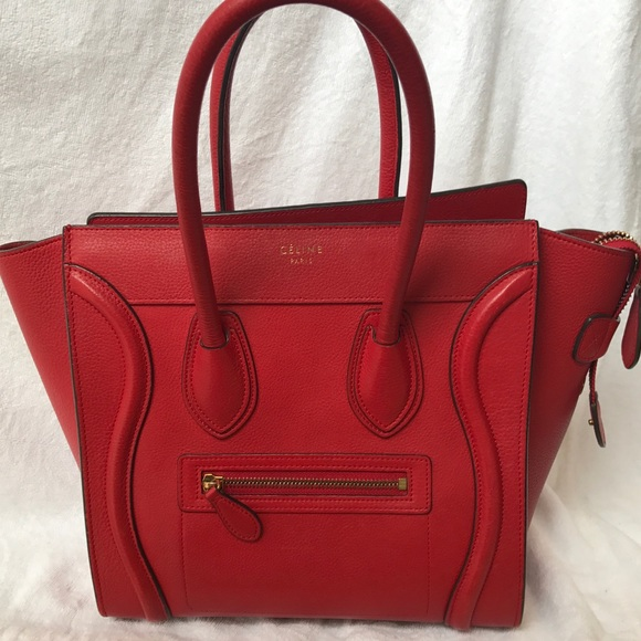 1f8dfd32e79 Celine Bags   Micro Luggage Tote In Red   Poshmark