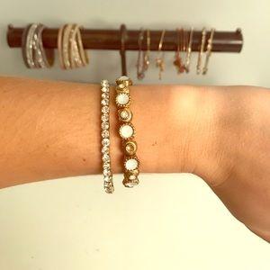 Gold white stone bracelet set