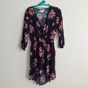 Tops - Navy blue flowery blouse