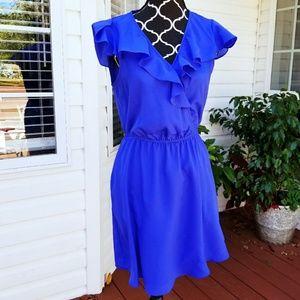 Gorgeous sleeveless dress ruffled front full lined