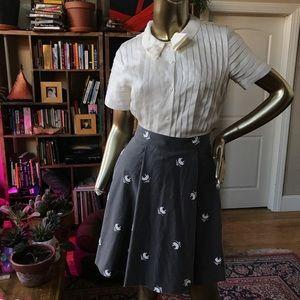 Black Fleece Embroider Mesh/Cashmere Pleat Skirt
