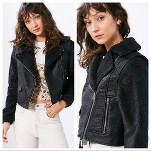 Urban Outfitters Black Cozy Combo Moto Jacket