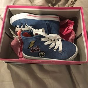 """Girls high top """"girl power"""" shoes toddler size 7"""