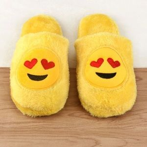Shoes - #A119 Cute In Love Emoji winter Fur Slippers