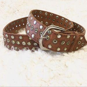 Accessories - Vintage 70's Genuine Brown Leather Studded Belt