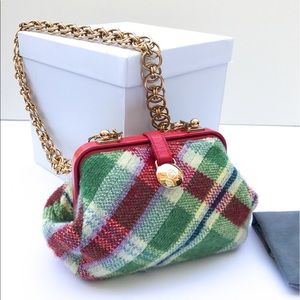 Alexander McQueen Plaid Wool & Leather Chain Bag