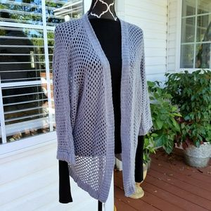 Neiman Marcus Cashmere open knit cardigan 3/4