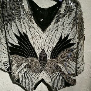 Tops - Vintage 70's sequin silk top