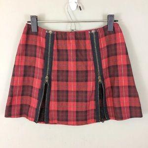 Betsey Johnson vintage Plaid mini skirt zip lace