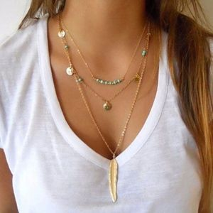 Triple Layer Gold Turquoise Feather Gold Necklace