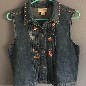 Vintage embroidered denim vest