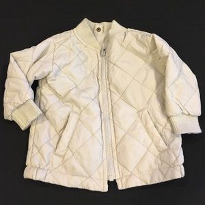 Cream colored Quilted Zip Up Jacket