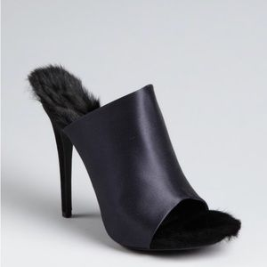Celine Satin Rabbit Fur Lined Peep Toe Pumps