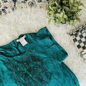 PAUL & JOE designer turquoise green accent dress