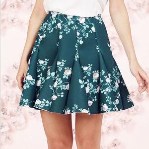 Lauren Conrad Runway Green Rose Floral Scuba Skirt