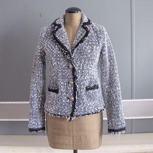 Business Casual Tweed blazer blue black white sz S