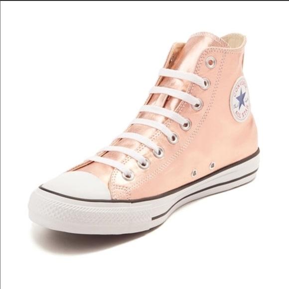 najlepsze buty sprzedawca detaliczny wysoka moda Converse High Tops Rose Gold Metallic Size 7.5 NWT