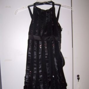 Sue Wong Black Silk Chiffon Cocktail Dress 4