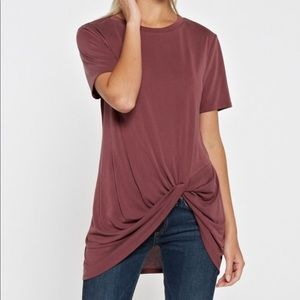 Wine Knotted Tunic Top