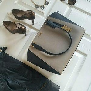 Calvin Klein Leather Purse Taupe Black