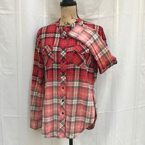 2d9f2cfc13d339 White Crow Tops - White Crow Women Flannel Ombre Red Plaid Shirt (M)