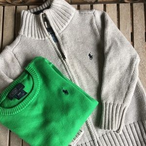 Boys Polo Green Sweater and Grey Sweater Jacket.