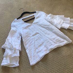 Zara Ruffel sleeve white top
