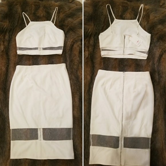 NWT White L'atiste Crop Top and Skirt FINAL PRICE