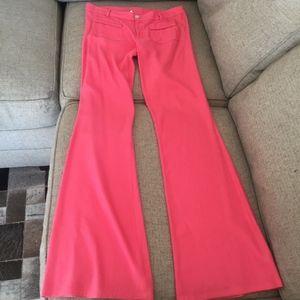 Ella Moss wide-leg linen pants w button/zip