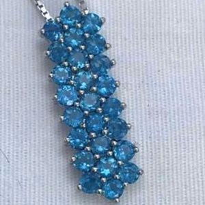 Brilliant Blue Topaz Necklace Fine .925 Silver