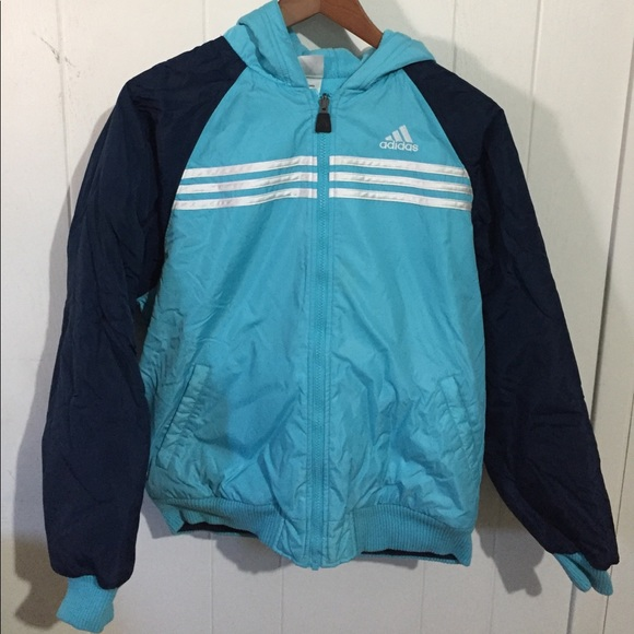 vintage 90s adidas three stripe reversible warm warm up coat / medium lDyBZ4Al