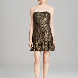 AQUA Black Gold Lace Strapless Party Dress
